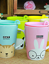 Cute Cartoon Animal Ceramic Mugs Cups with Lid Cover Nice Gift (Random Pattern)