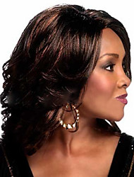 Women Synthetic Wig Medium Length Natural Wave Brownish Black Halloween Wig Carnival Wig Costume Wig