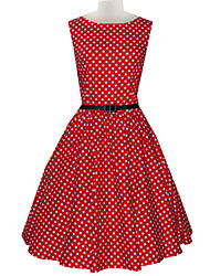 bolinhas vestido das mulheres do vintage fino de impressão sem mangas (com cinto)