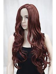 cheap -New Fashion No Bangs Side Skin Part Top Women's Reddish Auburn Long Curly Wavy Wig