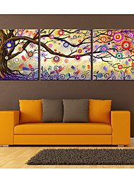 E-HOME® Stretched Canvas Art Color Abstract Tree  Decorative Painting Set of 3