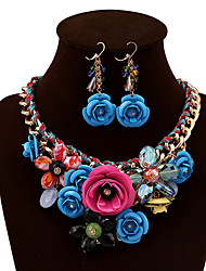 cheap -Women's Crystal Jewelry Set Earrings / Necklace - Vintage / Party / Work Red / Green / Blue Jewelry Set For Party