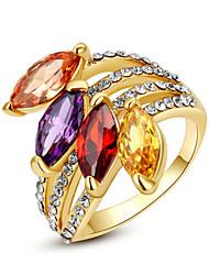 abordables -Femme Cristal Imitation Diamant Anneau de déclaration - Forme Géométrique Classique / Mode Arc-en-ciel / Transparente / Champagne Bague