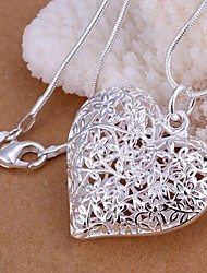 cheap -Women's Heart S925 Sterling Silver Pendant Necklace - Love Hollow Fashion Heart Silver 45cm Necklace For Wedding Party Daily Casual