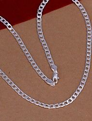 cheap -Men's Women's Silver Plated Chain Necklace  -  Fashion Silver Necklace For Wedding Party Daily