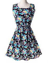 billige -Dame Chic & Moderne Kjole - Blomstret Mode, Vintage Stil