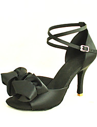 cheap -Women's Latin Shoes / Salsa Shoes Satin Sandal Buckle / Ribbon Tie Customized Heel Customizable Dance Shoes Yellow / Fuchsia / Purple