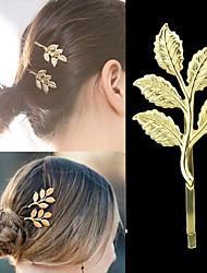 cheap -Gold Plated Leaf Shape Women Hair Pin
