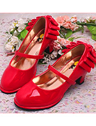 cheap -Girls' Shoes Leatherette Spring & Summer Flats Bowknot for Black / Red