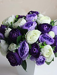 "9.84"" Hand-made Silk Artificial  Purple Tea Rose Wedding Bridal Bouquet Set of 1"