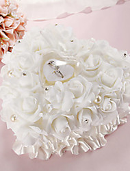 cheap -Lace Heart Shape With White Rose and Bow Ring Box Pillow for Wedding(26*26*14cm)