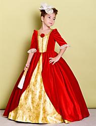 economico -A-line lunghezza pavimento ragazza fiore vestito - velluto mezza manica collo quadrato con fiore da lan ting bride®