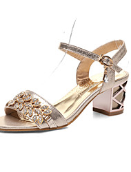 cheap -Women's Shoes Leatherette Spring Summer Comfort Sandals Chunky Heel Open Toe Buckle for Casual Dress Gold Silver Blue