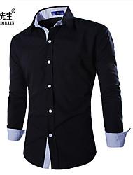 Недорогие -Муж. Чистый цвет Рубашка Классический и неустаревающий Однотонный / Длинный рукав