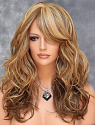 cheap -Synthetic Wig Body Wave With Bangs Side Part Highlighted/Balayage Hair Blonde Women's Capless Carnival Wig Halloween Wig Medium Synthetic