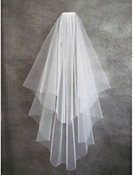 cheap -Two-tier Cut Edge Wedding Veil Fingertip Veils With Tulle Wedding Accessories