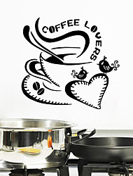cheap -Wall Stickers Wall Decals Style Coffee Lovers English Words PVC Wall Stickers