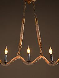 Candle Hemp Chandeliers Vintage Pendant Wrought Iron Bar Restaurant Wave Hemp Rope Chandelier