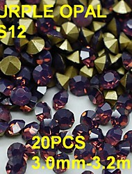 cheap -SS12 20pcs/lot 3.0mm-3.2mm Purple Color Opal Rhinestone with Golden Point Back Nail 3D Rhinestones Decoration