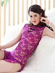 Donna Lingerie di pizzo Sensuale Uniformi e abiti tradizionali cinesi Indumenti da notte Tinta unita Pizzo Bianco Rosa Viola Rosso Nero