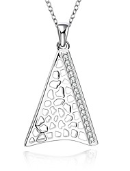 Fine Jewelry 925 Sterling Silver Jewelry Hollow Triangle with Zircon Pendant Necklace for Women