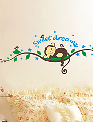 cheap -Sweet Dream Monkey Removable Vinyl Decal Kid Room Home Decor Wall Stickers