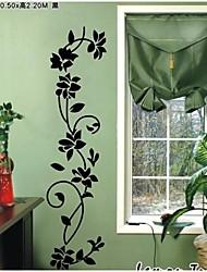 flores pretas clássicas decalque da parede videira zooyoo8139 decorativo Adesivo de Parede de vinil adesivo de parede removível