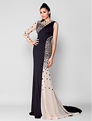 cheap -Mermaid / Trumpet Jewel Neck Court Train Chiffon Jersey Formal Evening Dress with Crystal Detailing by TS Couture®