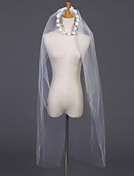 Veli da sposa 2 strati Velo corto (ai gomiti) Accessori per capelli con velo Bordo tagliato 39,37 in (100cm) Tulle Bianco Avorio
