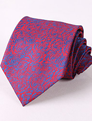 cheap -Men's Party/Evening Wedding Formal Blue Roses Pattern Polyester Groom Necktie