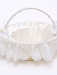 cheap -Rattan Flower Basket with Imitation Pearl(22*22*22) Flower Girl Basket