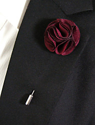 cheap -Men's Casual Wine Red Silk Goods Brooch