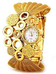 baratos -Mulheres Relógio de Pulso Relógio Casual Metal Banda Elegante / Relógio Elegante Prata / Marrom / Dourada