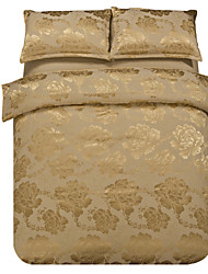 Mingjie Jacquard Khaki Flowers Bedding Sets 4PCS for Twin Full QueenSize from China Contian 1 Duvet Cover 1 Flatsheet 2 Pillowcases