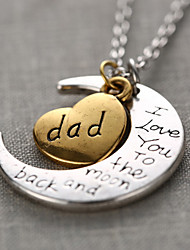 cheap -Fashion Word Dad I Love You To The Moon and Back Personalized Gift Moon Heart Necklace