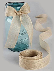 "5M 2,5 cm (1"")  Natural Jute Burlap Hessian Ribbon with Lace Trims Tape Rustic Wedding Decor Wedding Cake Topper"