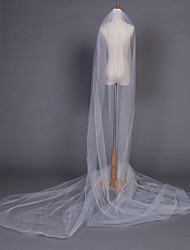 cheap -One-tier Pencil Edge Wedding Veil Chapel Veils With 204.72 in (520cm) Tulle