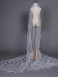 Недорогие -Свадебные вуали Один слой Соборная фата Закруглённый край 204,72 в (520cm) Тюль Белый Цвет слоновой кости