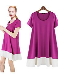 Robes ( Polyester ) Informel Rond à Manches courtes pour Femme