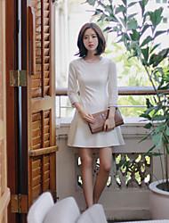 billige -Dame Chic & Moderne Kjole - Ensfarvet Helfarve, Moderne Stil Ren Farve Over knæet