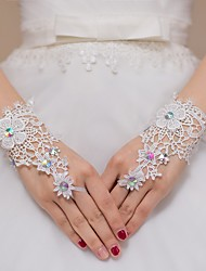 cheap -Lace Wrist Length Glove Bridal Gloves Party/ Evening Gloves Flower Girl Gloves With Rhinestone