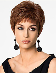 cheap -Synthetic Wig Straight Asymmetrical Haircut Synthetic Hair Natural Hairline Brown Wig Women's Short Capless