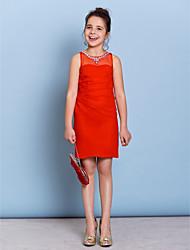 Sheath / Column Jewel Neck Knee Length Chiffon Junior Bridesmaid Dress with Beading Crystal Detailing by LAN TING BRIDE®