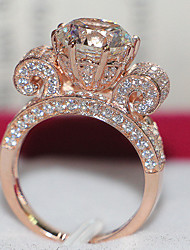 Anillos De mujeres Diamantes Sintéticos Plata esterlina / Chapado en Oro Rosa Plata esterlina / Chapado en Oro Rosa4.0 / 5 / 6 / 7 / 8 /