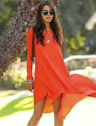abordables -Robes ( Mousseline ) Informel Rond à Manches longues pour Femme