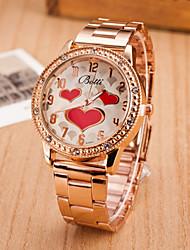 cheap -Women's Quartz Wrist Watch Hot Sale Alloy Band Heart shape Fashion Silver Gold