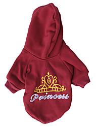 economico -Gatto Cane T-shirt Felpe con cappuccio Abbigliamento per cani Di tendenza Tiare e coroncine Rosso scuro Costume Per animali domestici
