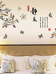 pared mariposas estilo pegatinas de pared calcomanías vuelan alrededor de las flores pegatinas de pared de pvc