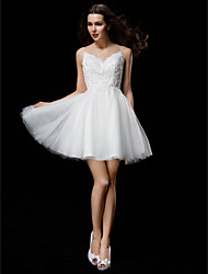 baratos -Linha A De Baile Ilusão Decote Curto / Mini Tule Vestidos de noiva personalizados com Miçangas Apliques Botão de LAN TING BRIDE®