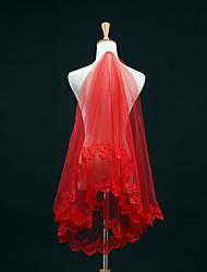 Uma Camada Borda com aplicação de Renda Véus de Noiva Véu Cotovelo Com Bordado Renda Tule